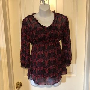 Two Hearts floral print sheer blouse with cami Med